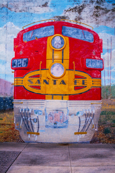 Mural of the Santa Fe Train at the Galveston Railroad Museum