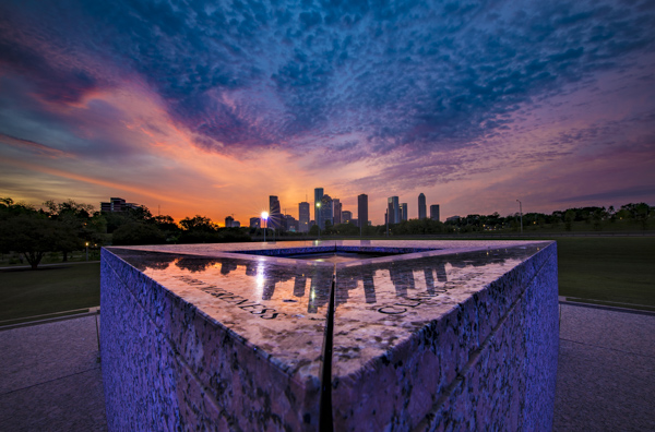 Houston Police Officers Memorial at dawn.