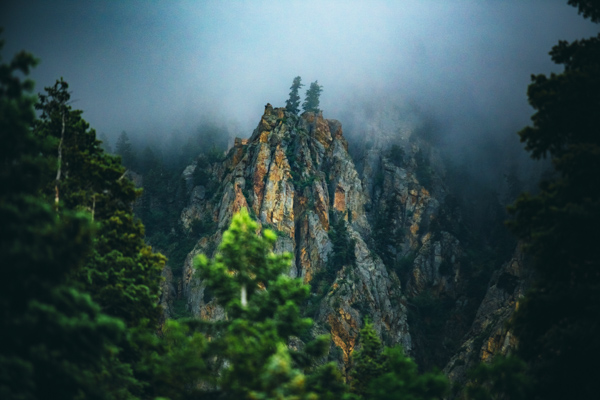The Wasatch Mountains on rainy, misty afternoon. Utah photography.